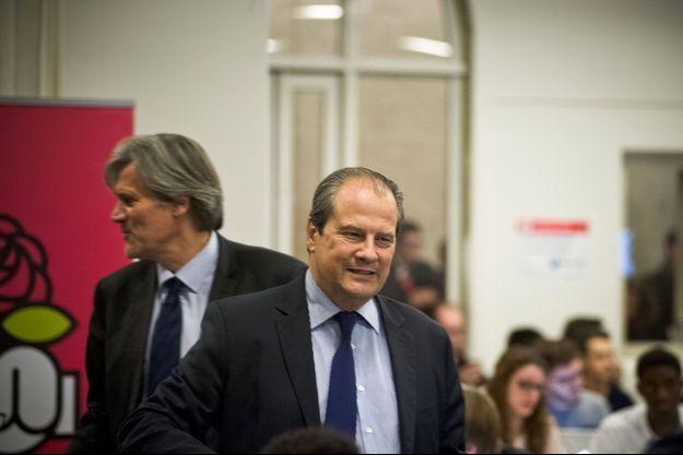 Stéphane Le Foll et Jean-Christophe Cambadélis en 2014 au siège du Parti socialiste, à Paris.