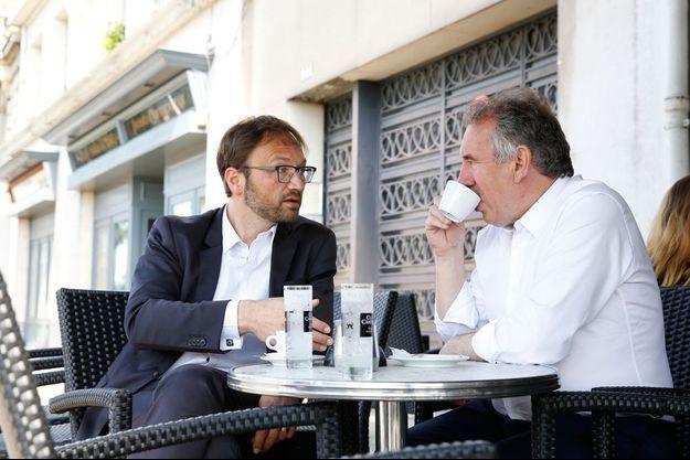 François Bayrou et Patrick Mignola, tête de liste MoDem en Rhône-Alpes-Auvergne.