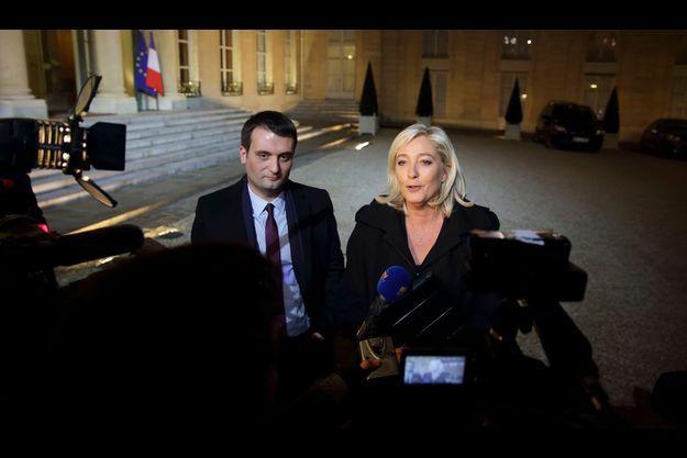 Florian Philippot et Marine Le Pen devant l'Elysée le 30 novembre 2012