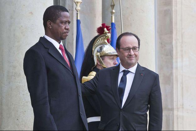 Edgar Lungu avec François Hollande à l'Elysée lundi 8 février 2016