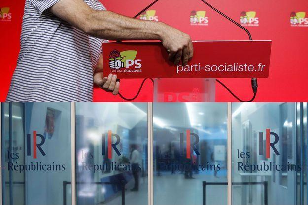 Dans les sièges respectifs du Parti socialiste et des Républicains.