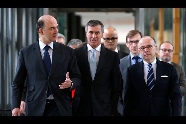 De g. à d.: Pierre Moscovici, Jérôme Cahuzac et Bernard Cazeneuve