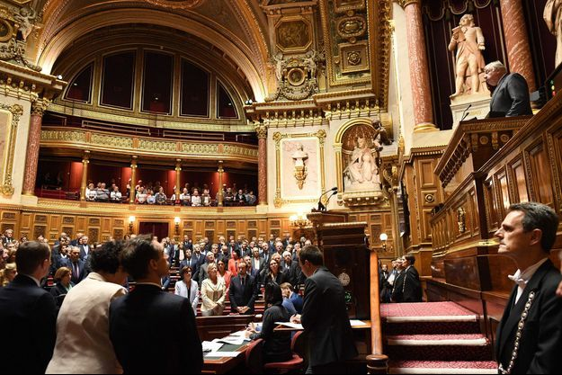 Gérard Larcher mercredi au Sénat lors de l'hommage à Jacques Chirac.