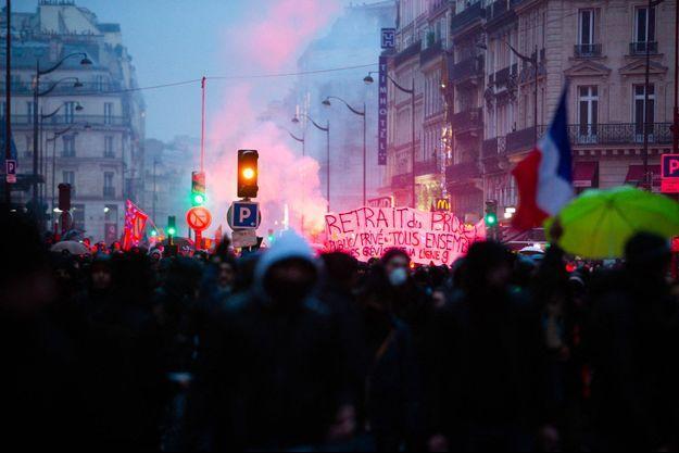 Manifestation contre la réforme des retraites à Paris, le 9 janvier 2020.