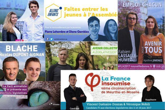 Les affiches de sept candidats aux législatives âgés de moins de 20 ans.