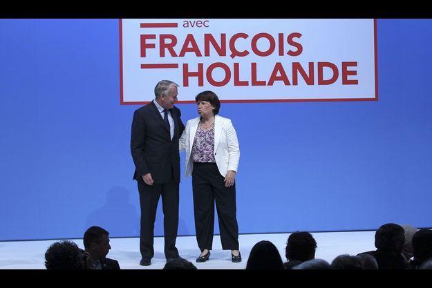 Jean-Marc Ayrault et Martine Aubry lors d'un meeting à Nantes le 2 juin.