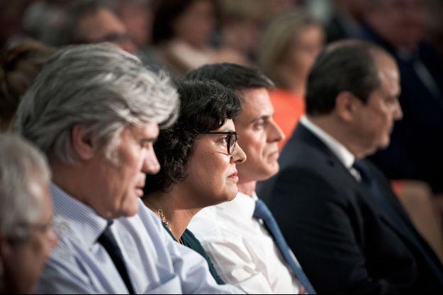 Juin 2016, meeting du PS pour défendre la Loi Travail. Stéphane Le Foll, Myriam El Khomri, Manuel Valls, Jean-Christophe Cambadélis.