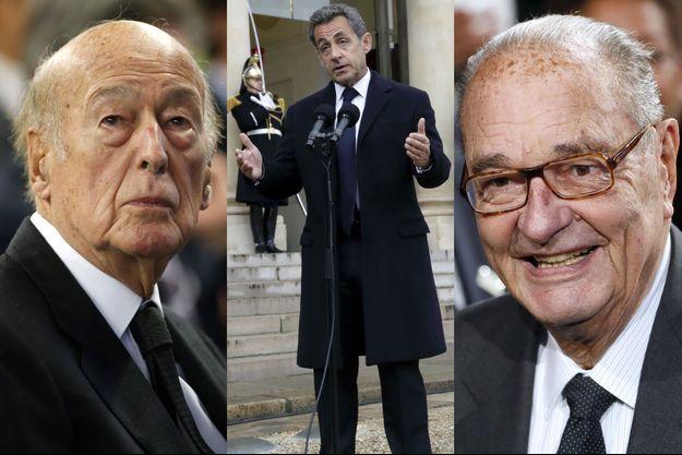 Valéry Giscard d'Estaing, Nicolas Sarkozy et Jacques Chirac.