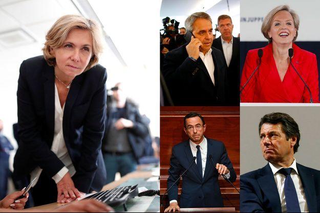 De g. à dr. et de haut en bas : Valérie Pécresse, Xavier Bertrand, Virginie Calmels, Bruno Retailleau et Christian Estrosi.
