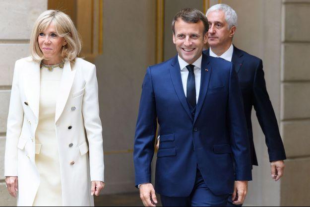 Emmanuel et Brigitte Macron à l'Elysée le 1er mai.