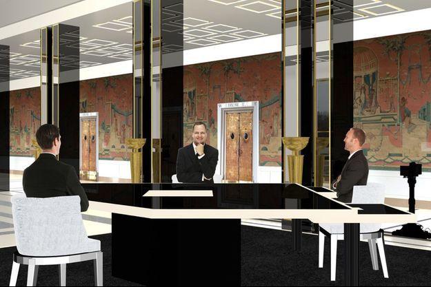Simulation du plateau de l'interview qui se déroulera au théâtre national de Chaillot.