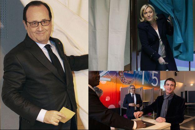 François Hollande, Marine Le Pen et Manuel Valls votent, dimanche matin.