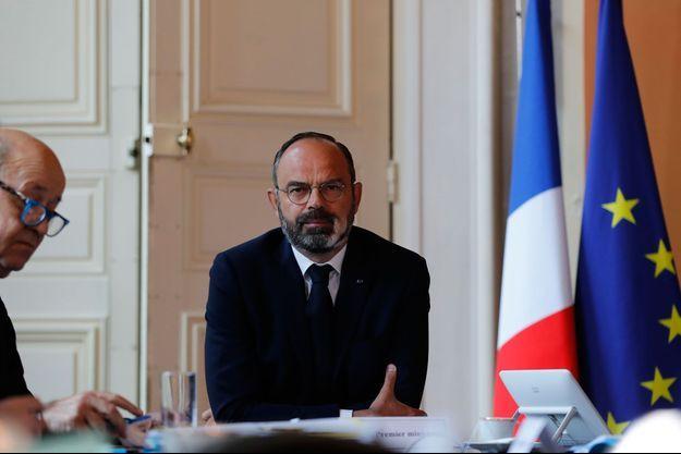 Le Premier ministre Edouard Philippe jeudi lors d'une visioconférence avec les professionnels du tourisme.