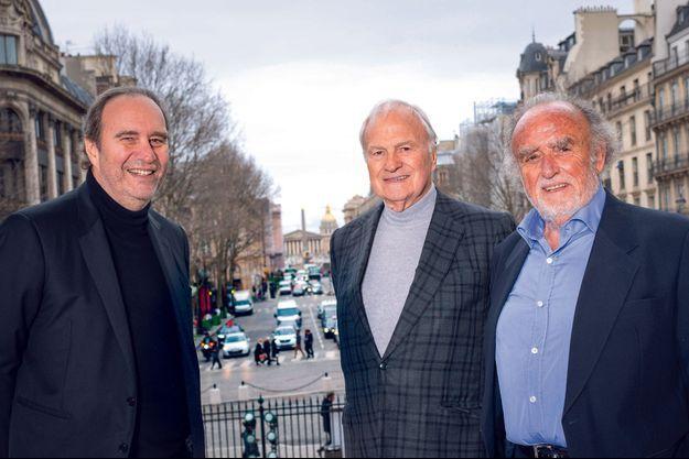 Xavier Niel, Claude Bébéar et Henri Lachmann, à Paris, le 3 février