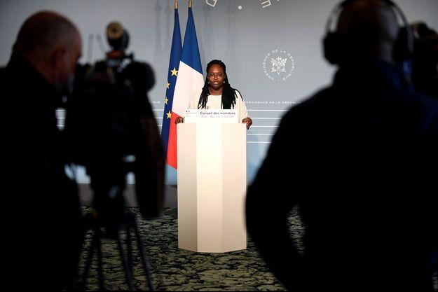 La porte-parole du gouvernement, mercredi, à l'Elysée, après le premier conseil des ministres post-confinement.