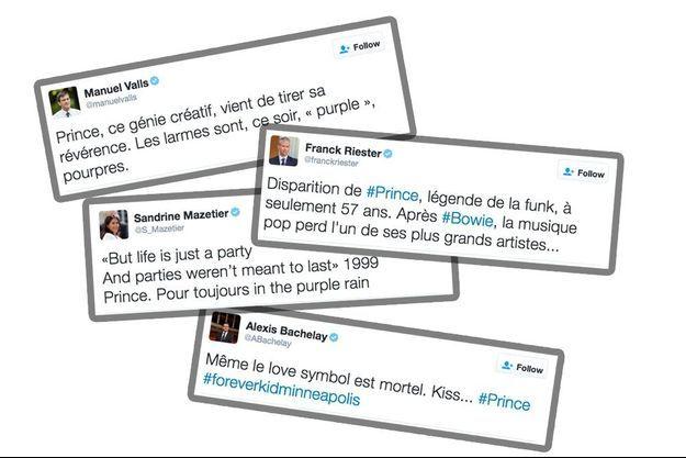 Les réactions de Manuel Valls, Franck Riester, Sandrine Mazetier et Alexis Bachelay à la disparition de Prince.