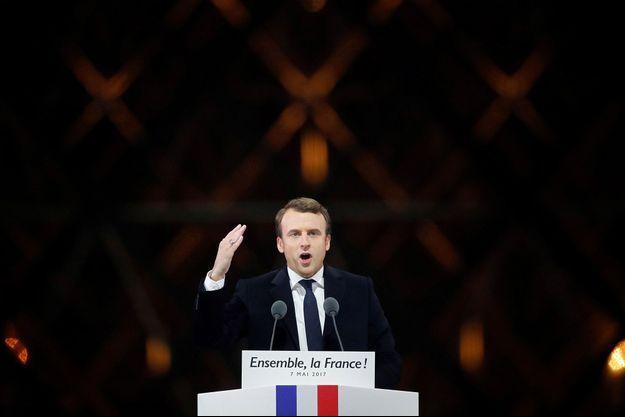 Emmanuel Macron lors de son discours au Louvre le 7 mai après sa victoire face à Marine Le Pen.