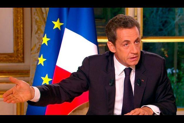 """Nicolas Sarkozy, lors de l'émission """"Face à la crise""""."""