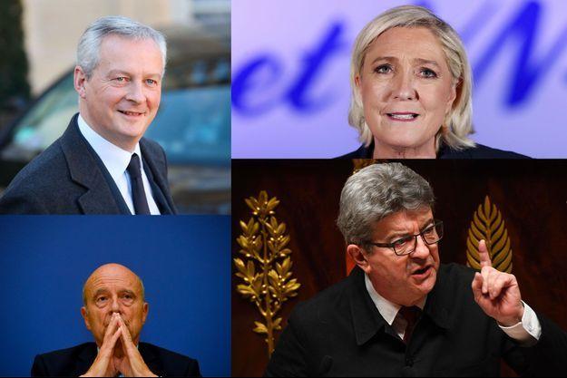 Bruno Le Maire, Marine Le Pen, Alain Juppé et Jean-Luc Mélenchon.