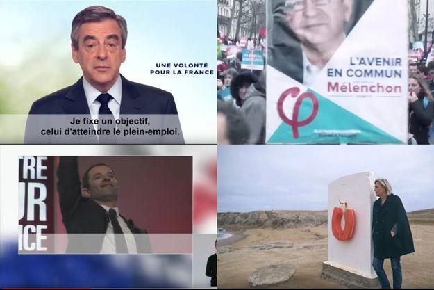 Clips de campagne officiels de François Fillon, Jean-Luc Mélenchon, Benoît Hamon, et Marine Le Pen. (captures écran).