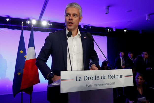 Laurent Wauquiez lundi en meeting à Paris.