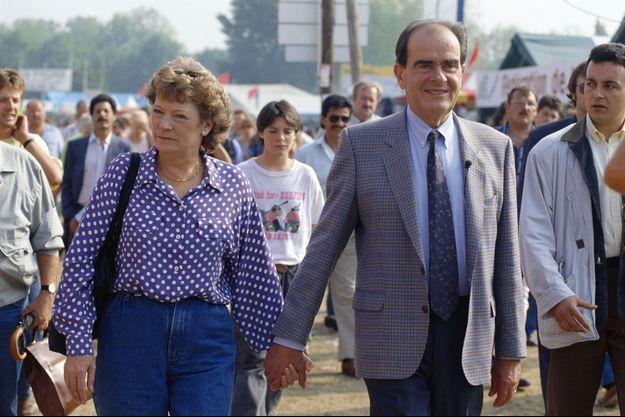 Liliane et Georges Marchais à la fête de l'Humanité, en septembre 1991 à La Courneuve.