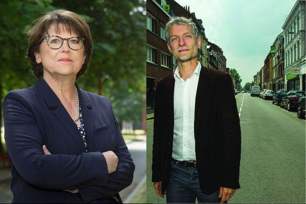Martine Aubry et son principal adversaire, le candidat écolo Stéphane Baly, à Lille, le 11 juin.
