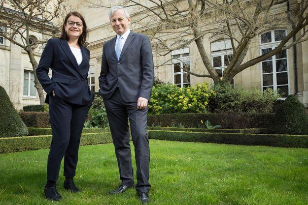 Laurence Maillart-Méhaignerie et Jean-René Cazeneuve dans le jardin du PalaisBourbon, le 10 mars.