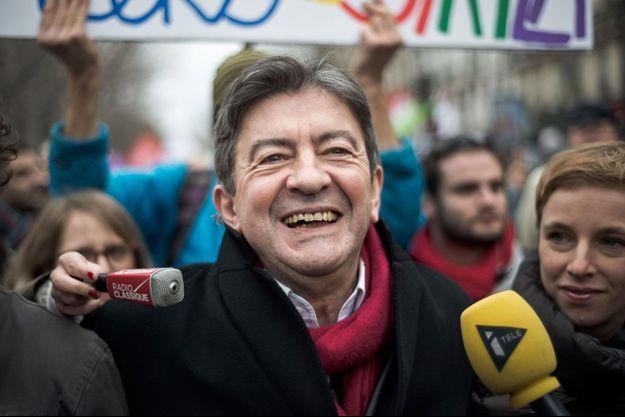 Jean-Luc Mélenchon le 15 février lors d'une manifestation de soutien à la Grèce.