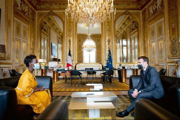 Louise Mushikiwabo, à l'Elysée, avec Emmanuel Macron.