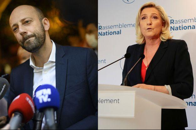 Stanislas Guerini, délégué général de LREM, et Marine Le Pen, présidente du Rassemblement national.