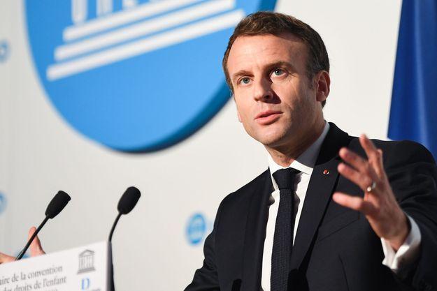 Emmanuel Macron à la Convention des droits de l'enfant, le 20 novembre 2019.
