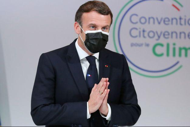 Emmanuel Macron, lundi lors d'une rencontre avec la Convention citoyenne pour le climat.