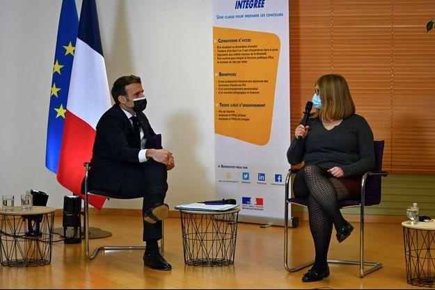 Emmanuel Macron jeudi à Nantes lors de sa visite de de l'Institut Régional d'Administration (IRA)