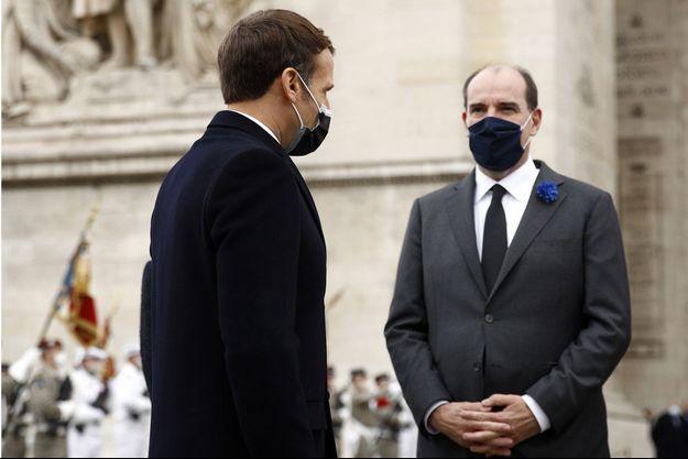 Emmanuel Macron et Jean Castex, lors des cérémonies du 11 novembre 2020 à Paris.
