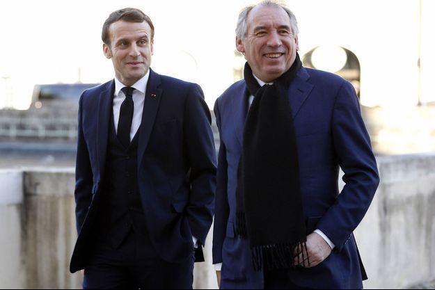 Emmanuel Macron et Françosi Bayrou à au en janvier dernier.