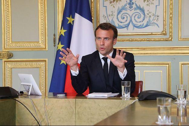 Emmanuel Macron le 8 avril 2020, à l'Elysée.