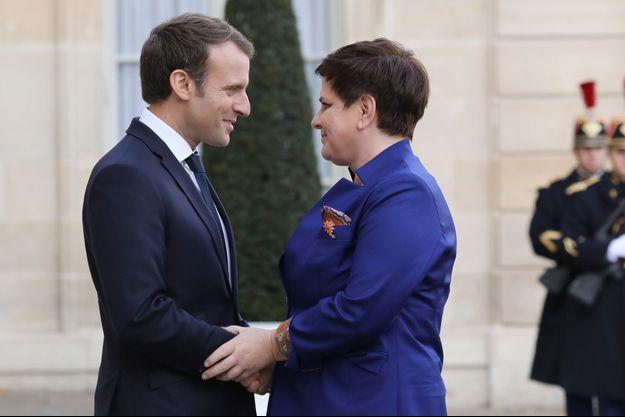 Emmanuel Macron et la Première ministre de Pologne, Beata Szydlo, jeudi à l'Elysée.