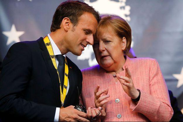 Emmanuel Macron et Angela Merkel en mai dernier.