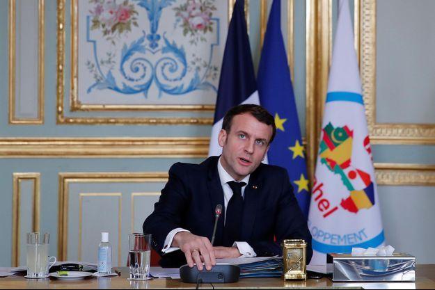 Emmanuel Macron lors de son intervention en visioconférence depuis Paris, mardi.
