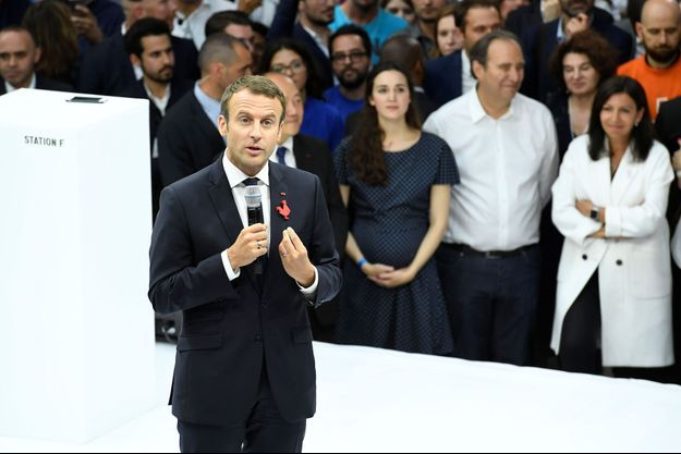 Emmanuel Macron à l'inauguration de la Station-F en juin 2017.