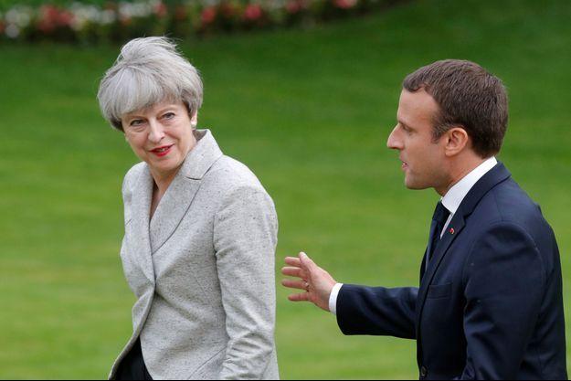 Theresa May et Emmanuel Macron, ici en juin à l'Elysée.