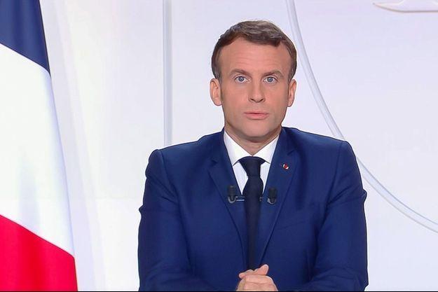 Emmanuel Macron, la semaine dernière lors de sa dernière allocution télévisée.
