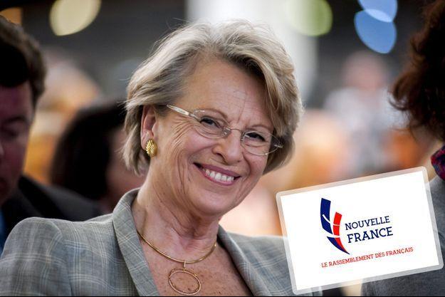 Michèle Alliot-Marie et le logo de son nouveau parti, Nouvelle France.