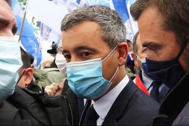 Gérald Darmanin à la manifestation des policiers le 19 mai 2021.