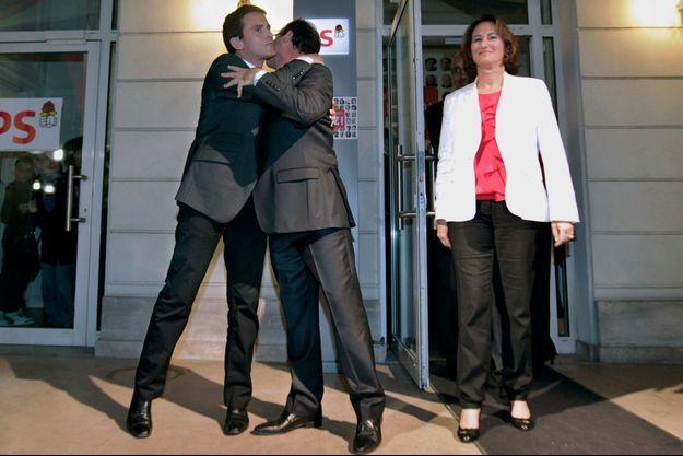 16 octobre 2011 au siège du PS, Manuel Valls, François Hollande et Ségolène Royal.