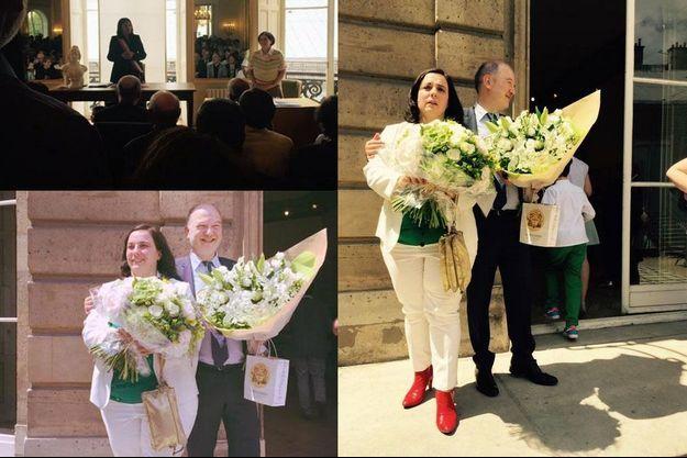 Le mariage de Denis Baupin et Emmanuelle Cosse, immortalisé par Esther Benbassa et Cécile Duflot.