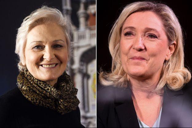 Marie-Caroline et sa soeur Marine Le Pen (montage)