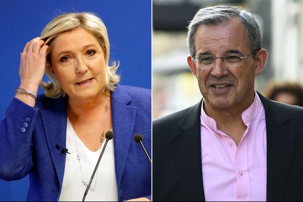 Marine Le Pen a proposé à Thierry Mariani de figurer en position éligible sur la liste FN aux élections européennes (montage)