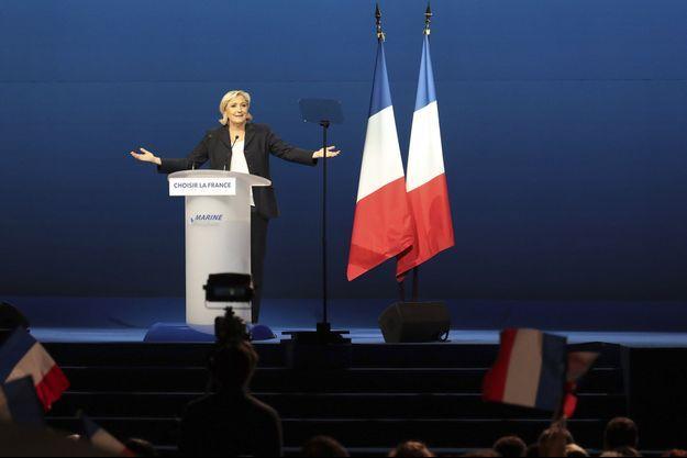 Marine Le Pen lors de son discours à Villepinte, le 1er-Mai.